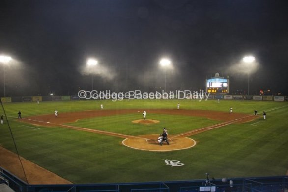 The fog falls upon Blair Field.