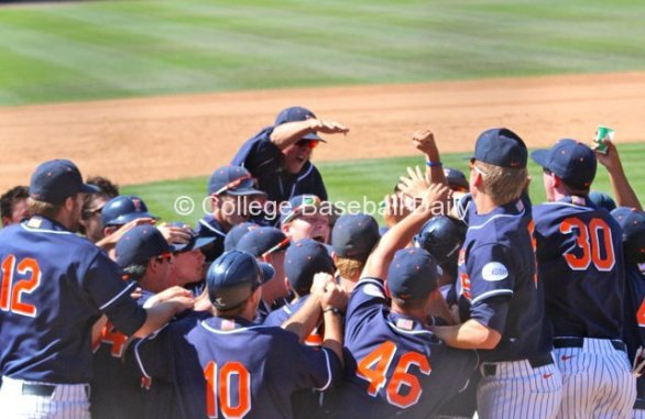 Fullerton celebrates back-to-back walk-offs.