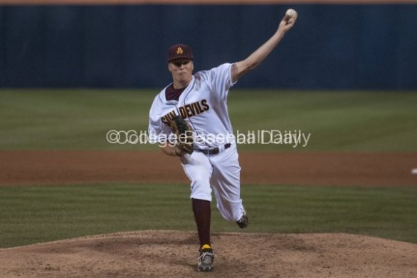 Adam McCreery gets full extension with a pitch.
