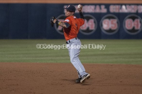 Richy Pedroza fires to first.