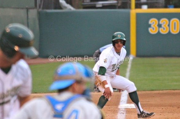 Nick Torres stops after Zeile blocks a pitch.