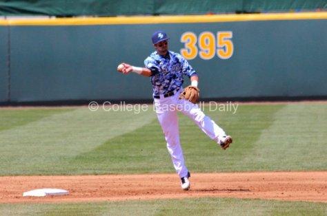 Austin Bailey makes an off-balance throw.