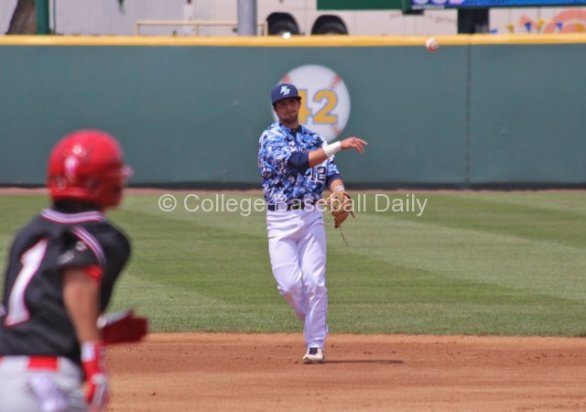 Austin Bailey throws out a runner at first.