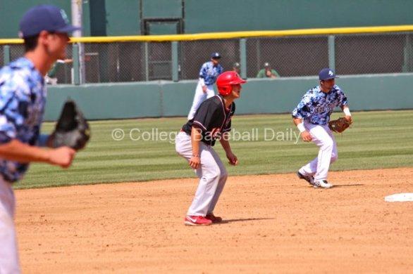 Jake Romanski leads off second base.
