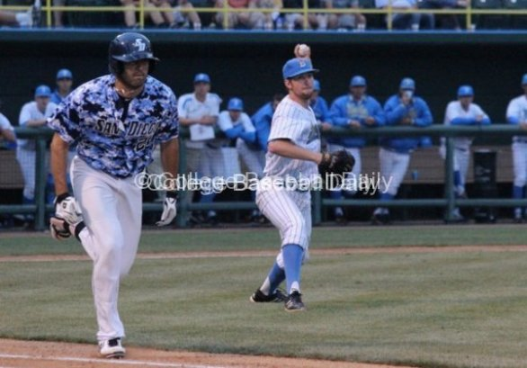 Grant Watson throws to first.