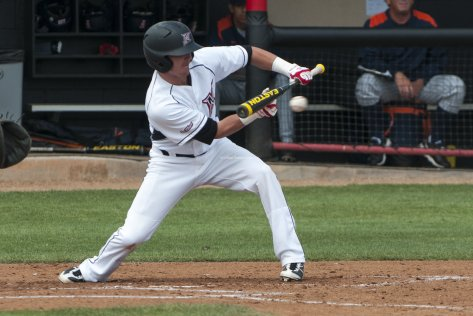 Ryan Raslowsky lays down the squeeze bunt.