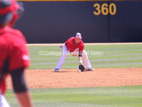 Kyle Attl fields a ball at shortstop.