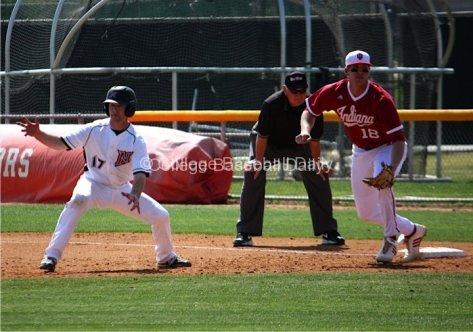 Brett Balkan fakes toward second base.