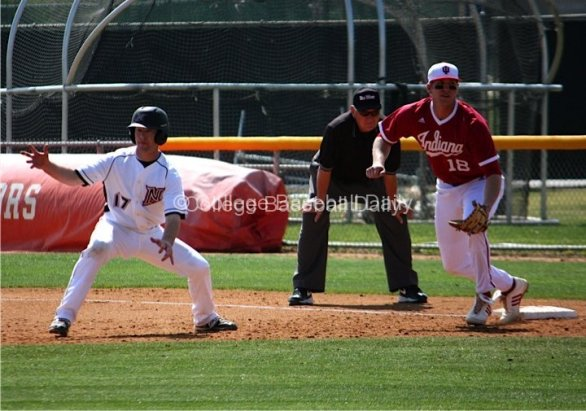 Brett Balkan fakes toward second base.