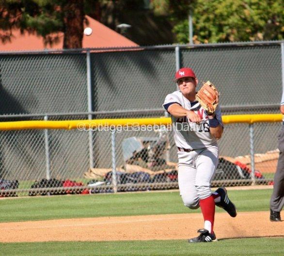 Alex Guthrie throws the diamond.