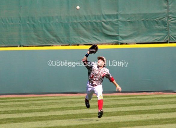 Craig Aikin makes a catch in centerfield.