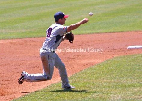 Mitchell Gunsolus throws across the diamond.