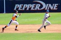 Austin Davidson chases a baserunner.