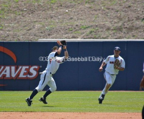 Joe Sever ranges into shallow RF to make a catch.