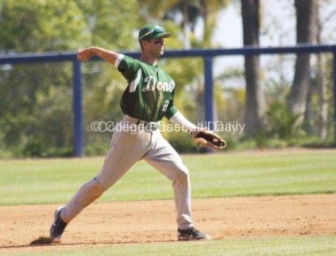 Aritz Garcia throws across the diamond.