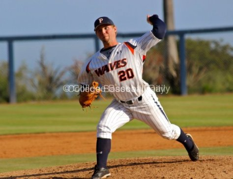 Aaron Brown pitches.