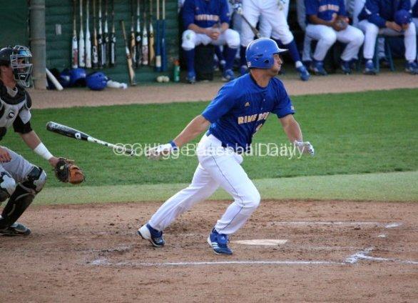 David Andriese flings the bat.