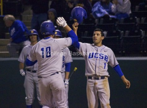 Tyler Kuresa is greeted after his homer by Peter Maris,
