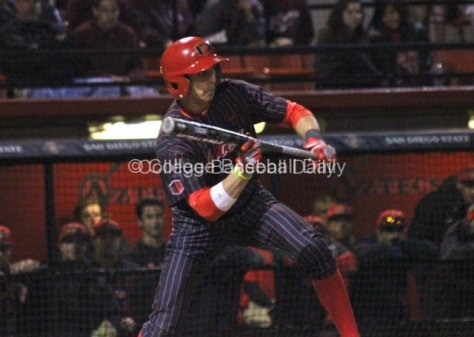 Steven Pallares attempts to bunt for a single.