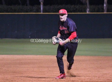 Jonathan Spirk rushes to first base.
