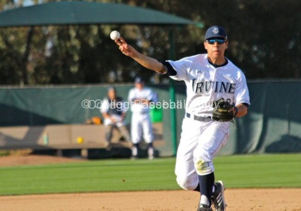 Chris Rabago fires to first.