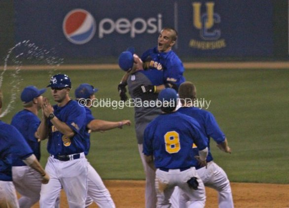 Clayton Prestridge is mobbed after his game-winning hit.