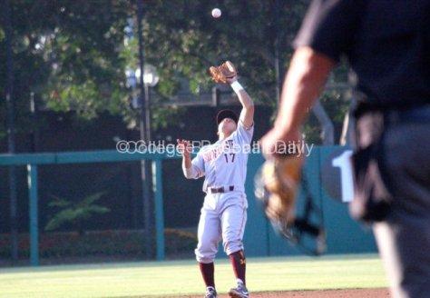Drew Stankiewicz catches a popup.
