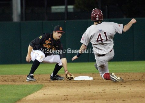 James Roberts waits on caught base stealer Tanner Donnels.