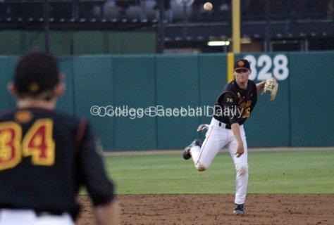 Blake Lacey throws across the diamond.