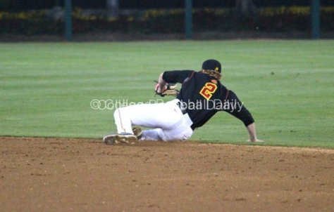 Adam Landecker makes a sliding stop.