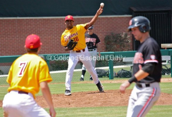 Stephen Tarpley throws to first to keep Tyler Smith close.