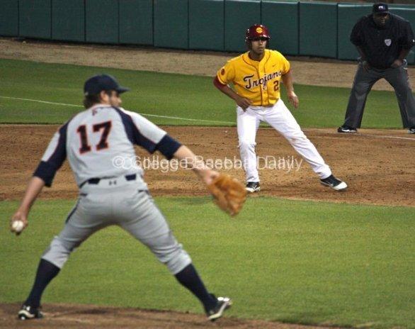 Jake Hernandez leads off first base.