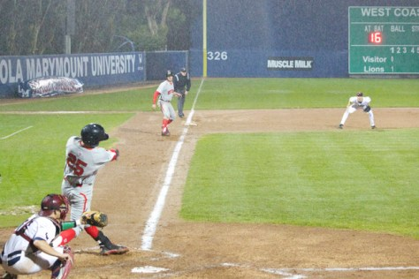The teams battled the elements before rain called it.