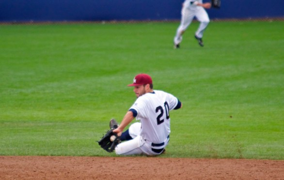 Brice Savage makes a sliding stop.