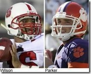 Clemson's Kyle Parker faces off against NC State's Russell Wilson