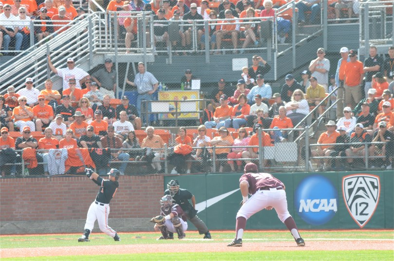 "Oregon State's Michael Conforto takes a mighty swing in the first inning. This is the view from the ""cheap seats"" in right field at Goss Stadium. (Photo by Aaron Yost)"