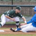 Chris Heck beats the tag by Mark Weist for a 3rd inning double. Photo by David Cohen (BHEphotos)