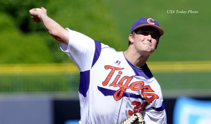 May 25, 2013; Durham, NC, USA; Clemson Tigers pitcher Clate Schmidt (32) pitches against the Miami Hurricanes during the ACC baseball tournament at Durham Bulls Athletic Park. Mandatory Credit: Liz Condo-USA TODAY Sports