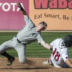 Travis Moniot  can't hold onto Susnara's throw as CJ Saylor steals 2nd. Photo by David Cohen, BHEphotos