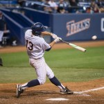 Timmy Richards doubles in the bottom of the 8th inning.   Photo by Steve Cheng, BHEphotos.
