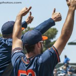 The Titan dugout is all thumbs up in the 3rd where Fullerton scores 5 runs to extend their lead to 6-0. Photo by David Cohen, BHEphotos