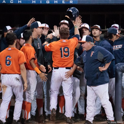 The CSUF dugout celebrates after taking a 5-4 lead in the 6th inning. CSUF defeated UCSB 8-4, Fullerton, CA, May 12, 2017.