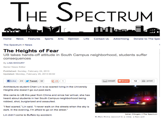 """For her special investigation """"The Heights of Fear,"""" Khoury explored how the University of Buffalo supervises and supports students living in the University Heights, an area near UB's South Campus that """"has become synonymous with crime and absentee landlordism."""" Upon its publication, the report earned a Society of Professional Journalists' Mark of Excellence Award for In-Depth Reporting."""