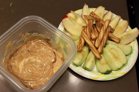 White Chocolate Peanut Butter Dip with Apples and Pretzels