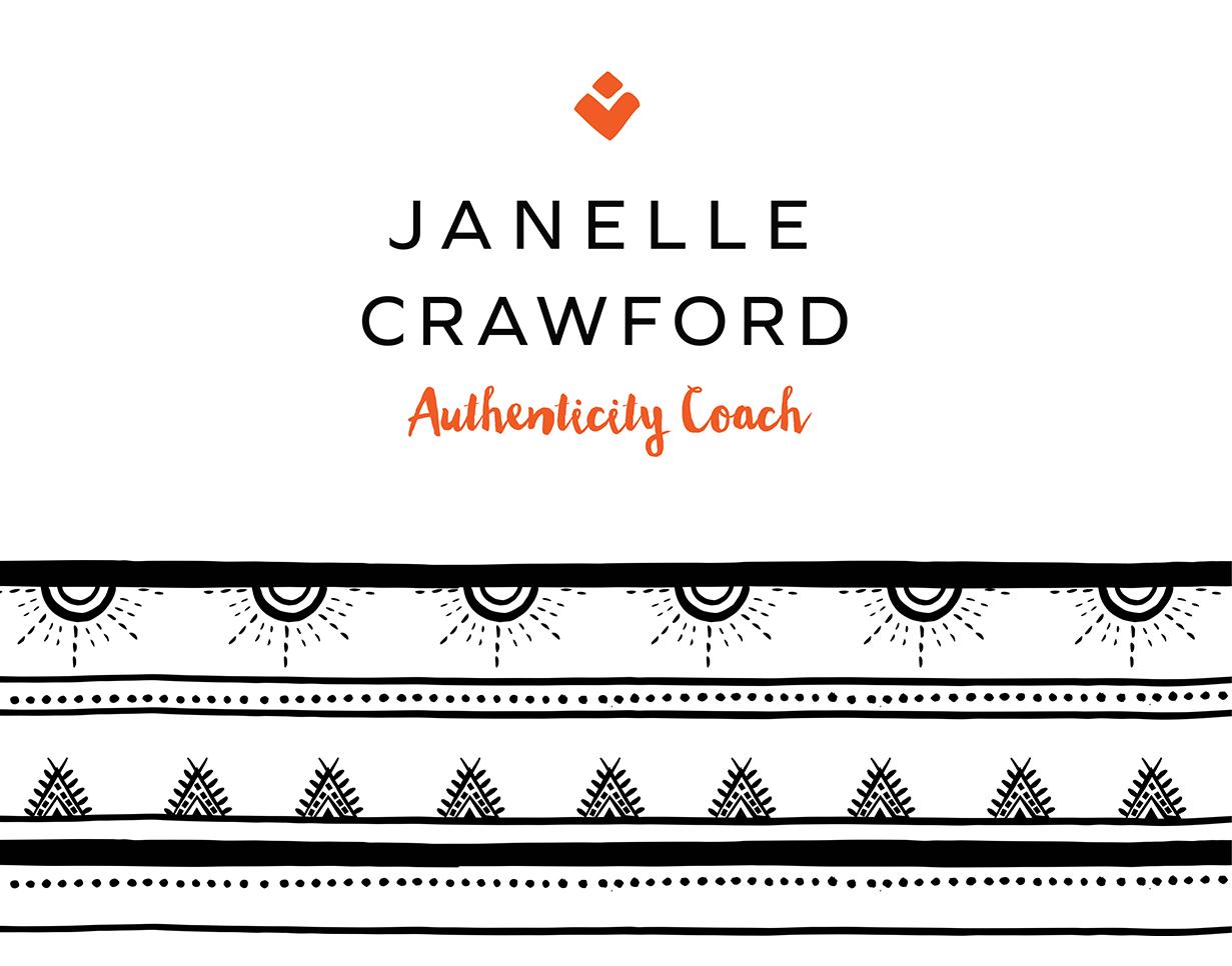 Janelle Crawford authenticity coach logo design by Tegan Swyny of Colour Cult. North Brisbane graphic designer.