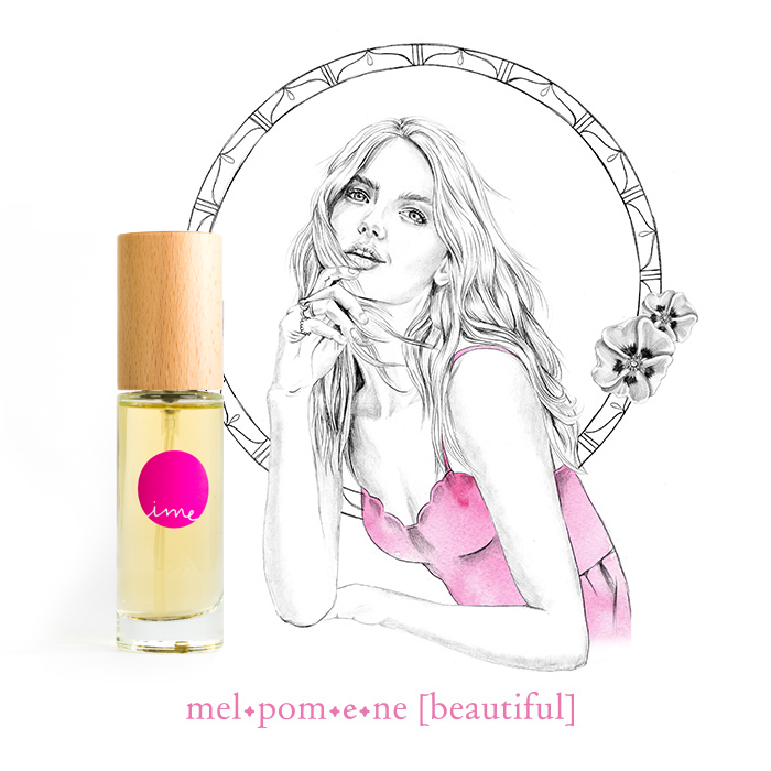 IME Natural Perfumes muses - illustrated by Tegan Swyny of Colour Cult graphic design Brisbane.