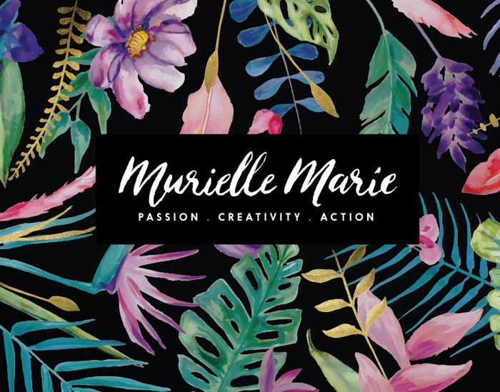 Murielle Marie logo design hand painted by Tegan Swyny of Colour Cult Graphic Design, Brisbane.
