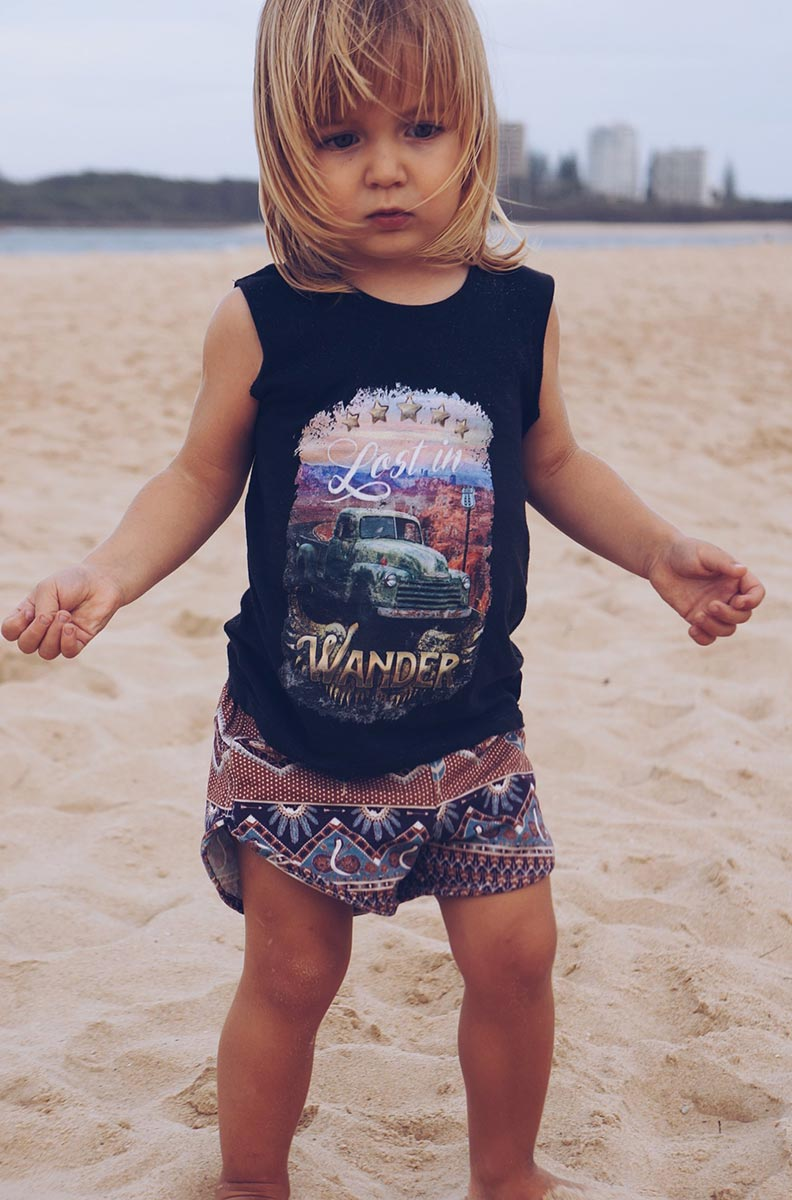 Chasing Rivers Lost in Wander muscle tee designed by Tegan Swyny of Colour Cult- textile design brisbane.