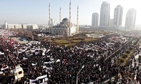 Grozny, manifestazione anti-Charlie Hebdo