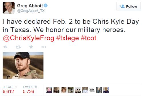 Chris Kyle Day - Greg Abbott